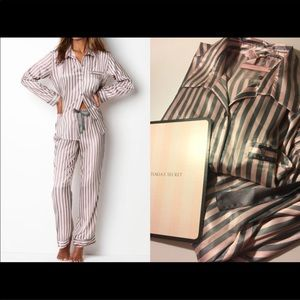 Victoria's Secret Pink stripe satin pajama set